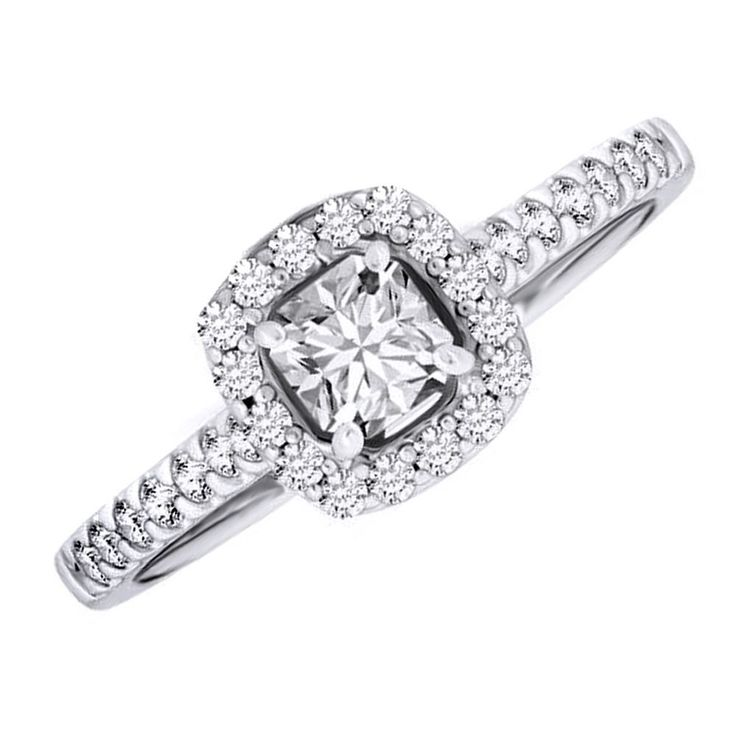 1 CT D/VVS1 ENGAGEMENT Halo RING ROUND CUT  SOILD 10K WHITE GOLD Bridal Jewelry #AffynityHomeshopping #SolitairewithAccents