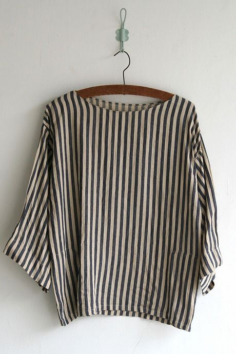 Slip on blouse(heriingbone stripe linen-border) linen100% size1 color:navy