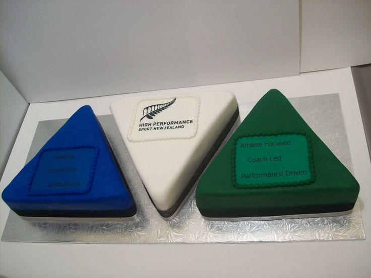 Triangle shaped corporate cake $395 caters for 100 coffee serves