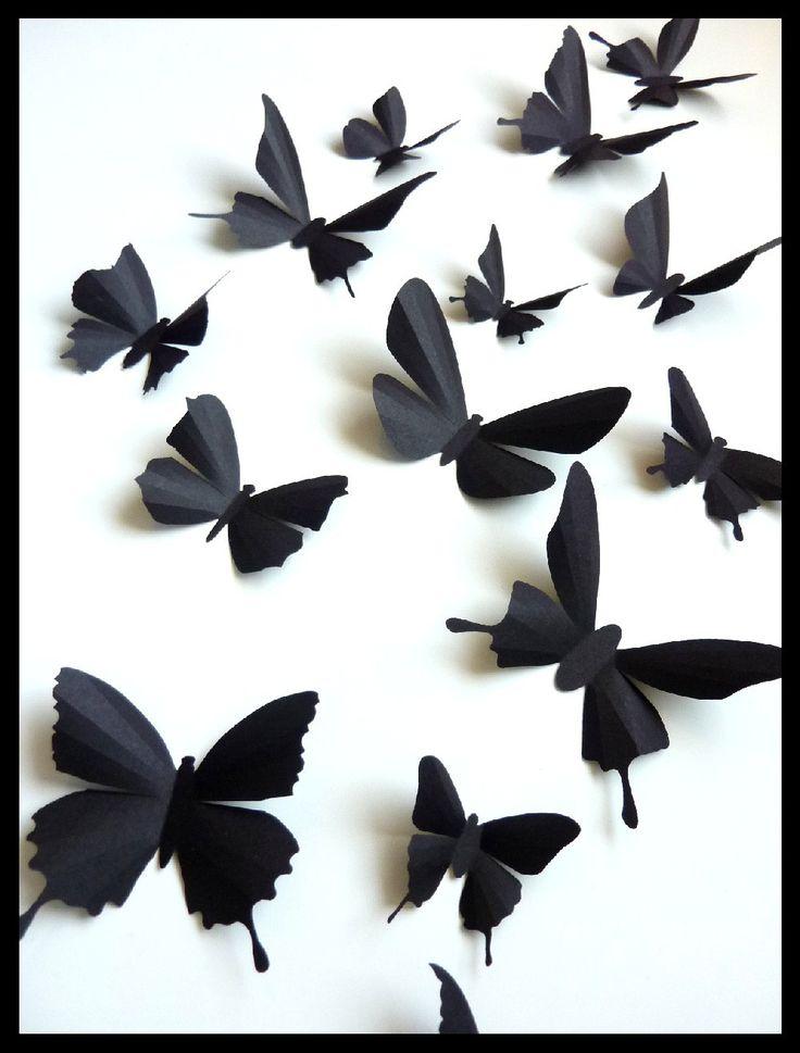 3d Wall Butterflies 15 Assorted Black Butterfly Silhouettes Home Decor Nursery