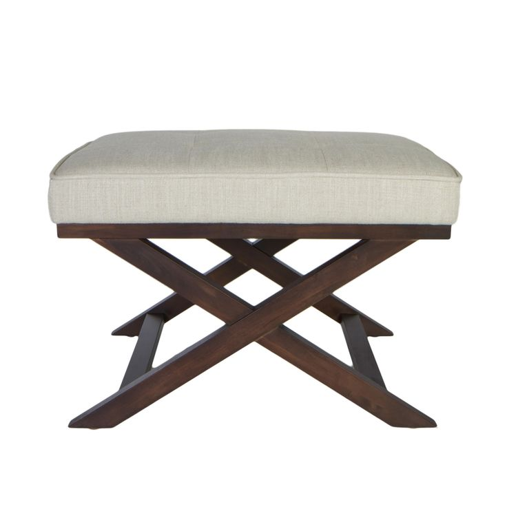 Traditional Cross Legs Ari Beige Linen X Bench Ottoman By