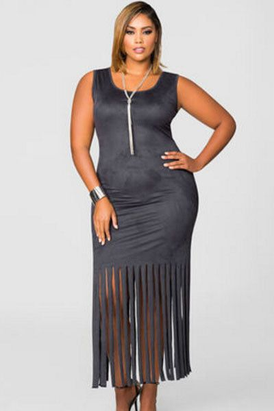 Grey Micro Suede Fringe Hem Full-Figured Dress LAVELIQ Material: Polyester+Spandex Size: Xxl Color: Grey Style: Sexy Occasion: Summer Pattern: Solid Neckline: Square Collar Sleeve Length: Short Sleeve