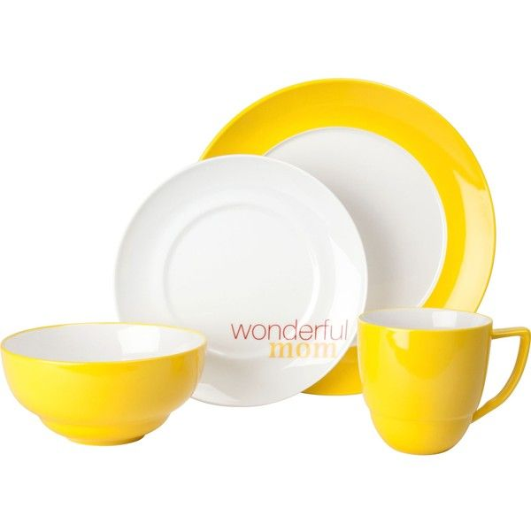 Waechtersbach Uno Curry 'Wonderful Mom' 4-Piece Place Setting ($38) ❤ liked on Polyvore featuring home, kitchen & dining, dinnerware, yellow, porcelain dinner plates, colored dinnerware, porcelain dinnerware, microwave safe dinnerware and yellow dinnerware