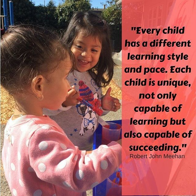 """Every child has a different learning style and pace. Each child is unique, not only capable of learning but also capable of succeeding."" Robert John Meehan * * * #Children #childrens #toddler #toddlers #toddlerlife #learn #learning #ece #earlylearning #norcal #northbay #picoftheday #parentingquotes #robertjohnmeehan #learningstyle #success #successquotes"