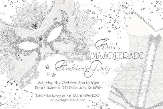 So pretty! Masquerade Bachelorette Party Invitation by BellaLuElla on Etsy, $10.00