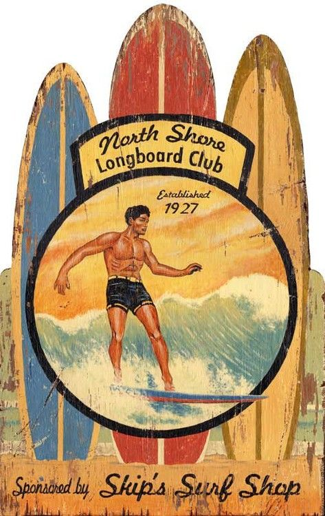 """Large 20 x 24"""" Vintage North Shore Hawaiian surfing sign printed directly to cabinet grade plywood."""