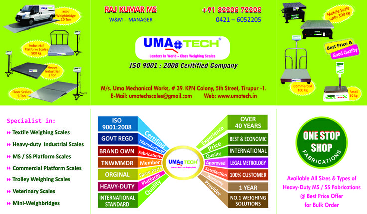 UMATECH SCALES, India's No.1 Leading Manufacturers & Suppliers of Commercial & Industrial Platform Weighing Scales, Heavy-duty Industrial Weighing Machines, Industrial Floor Scales, Customized & Specialized Industrial Platform Weighing Machines, Veterinary & Animal Weighing Scales, Warping Beam Weighing Machines, Textile Weighing Scales, Economic & Retail Weighing Scales, Electronic Weighing Machines, Supermarket Weighing Scales, for All Various Industrial Weighing Applications & Solutions