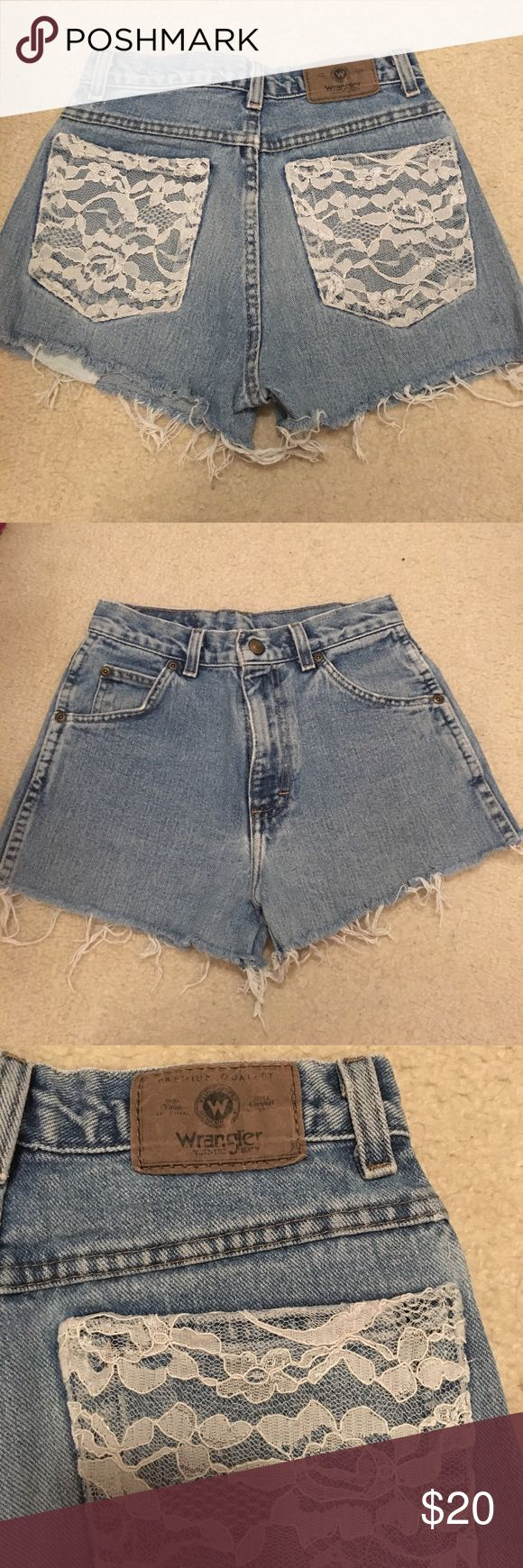 Lace Pocket Ripped Jean shorts Light wash, frayed bottoms, lace pockets. Originally DIY-ed with Wrangler jeans. Perfect condition. Willing to negotiate!! Wrangler Shorts Jean Shorts