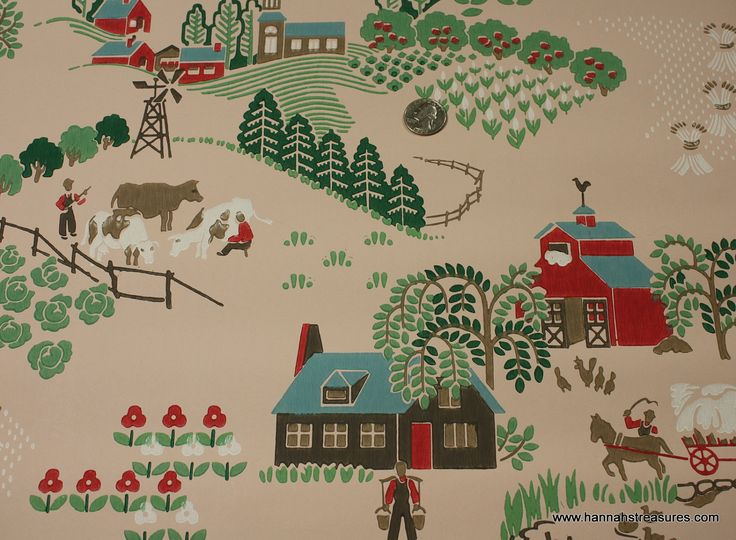 1940's Vintage Wallpaper Pink background with Farms and Houses. $14.00, via Etsy.