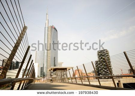 MILAN, ITALY - june 06 2014: The new Porta Garibaldi area with its futuristic skyscrapers is finally open to visitors and ready for Expo on june 06, 2014 in Milan. - stock photo
