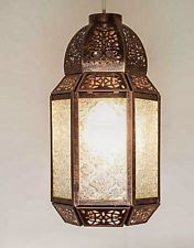New Moroccan Lantern Style Ceiling Light Shade Pendant Bronze Colour Clear Glass