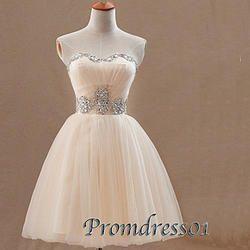 #promdress01 prom dresses -cute pink organza beaded short custom-made prom dress for teens, bridesmaid dress, 2015 junior prom dress #coniefox #2016prom