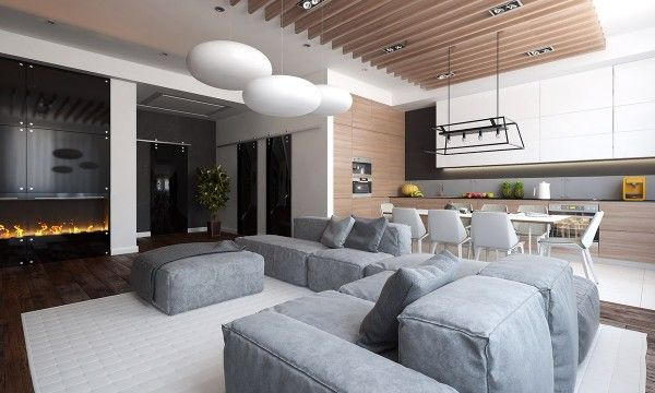 With its open floor plan and exposed natural wood ceiling beams, the first space has the feeling of a modern, urban cabin. Overstuffed furniture - in the living and bedroom - along with flying saucer-esque light fixtures provide a comfortable whimsy without ever going too bold.