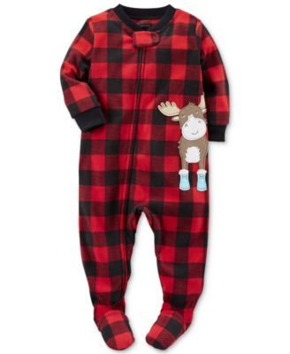 Carter's 1-Pc. Buffalo Check-Print Moose Footed Pajamas, Baby Boys (0-24 months)   macys.com