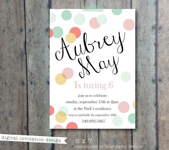 Polka Dot invitation - girl birthday invitation - baby shower - bridal shower invite