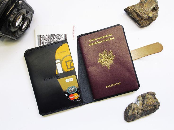 Etuis Passeport En Cuir Noir/ Portefeuille Voyage/ Homme/ Femme : Porte-monnaie, portefeuilles par subconscious