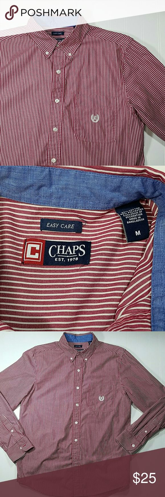 🆕 Chaps shirt Red and white striped button up shirt, collar buttons down, pocket on the left with chaps sign. Cotton/polyester.  Excellent condition.  Sz medium Chaps Shirts Casual Button Down Shirts