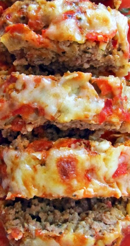 Italian Meatloaf ~ A tender and delicious Italian-seasoned meatloaf with mozzarella and tomato sauce.