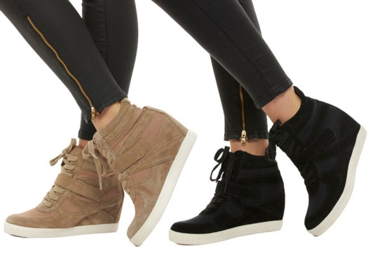 velveteen hi-top sneakers high heels in camel!