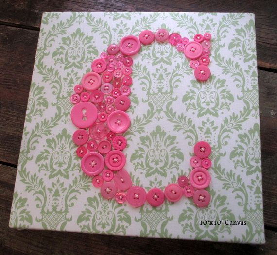 Baby Nursery Letter Art Button Letter C by letterperfectdesigns