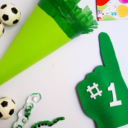 Giant Foam Hands for Mini Football Fans! Ideal for a sports themed party. Kids craft step by step. Jane Hayes Creative