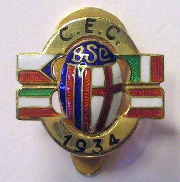 Bologna Sezione Calcio Distintivo celebrativo della vittoria della Coppa dell'Europa Centrale, nel 1934.