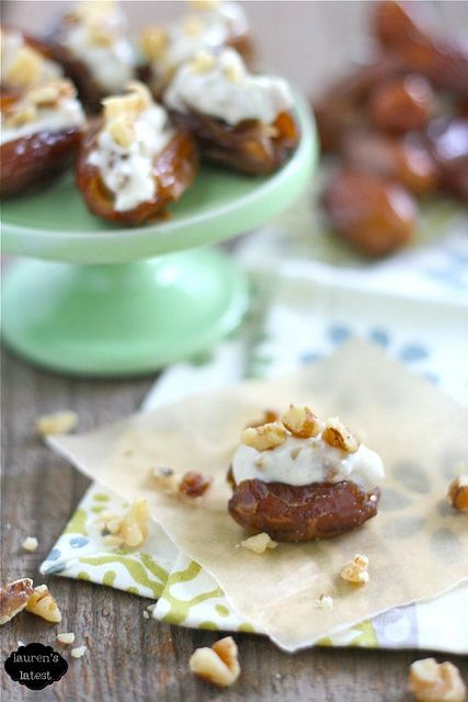 Moroccan dates stuffed with cinnamon-honey cream cheese and walnuts  {Lauren's Latest}