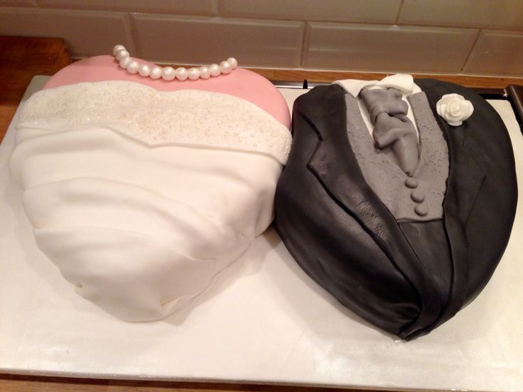 Double heart cake - one rich fruit cake and marzipan, the other chocolate fudge cake with white choc frosting