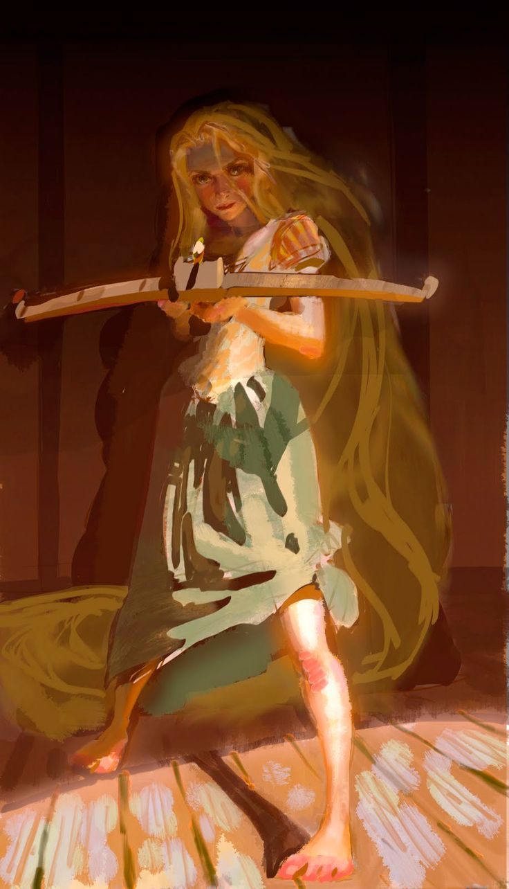 The Art Of Animation, Jin Kim - Tangled (Disney). Whoa, Rapunzel with a crossbow! That's so badass!
