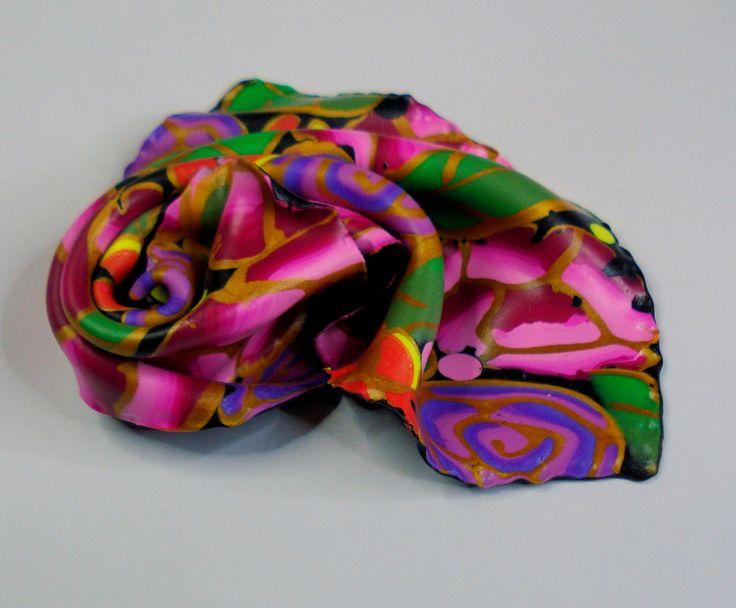 https://flic.kr/p/DGq74J | Silky polymer clay brooch