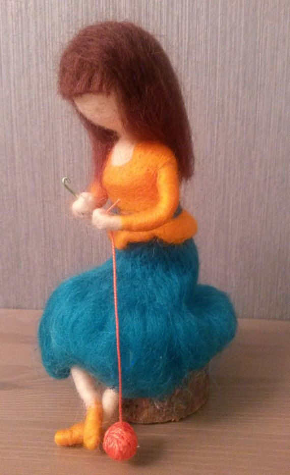 Needle felted waldorf inspired doll Woman who knits. Wool