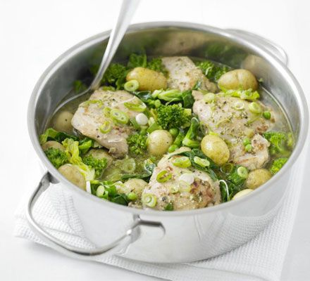 Simple British Spring Pot Chicken Recipe  I  This tasty blend of fresh chicken and spring veggies in pesto is as good as it is easy to make. And it's a simple dinner that's sure to spice up any Springtime dinner table.  #SpringtimeRecipes