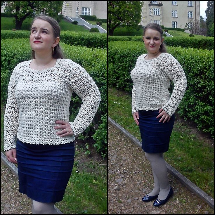 White elegant crocheted sweater.