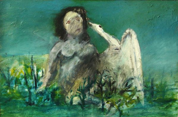 Sidney Nolan Leda and Swan In 1945 Sidney, painted this work, which was to be the first in the series, which he revisited over many years. This painting would be well placed in a museum for all to enjoy...!! Ripolin on board 60 x 90cm