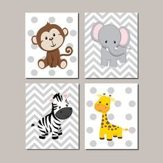 JUNGLE Nursery Wall Art ELEPHANT Giraffe Zebra Monkey Set of 4