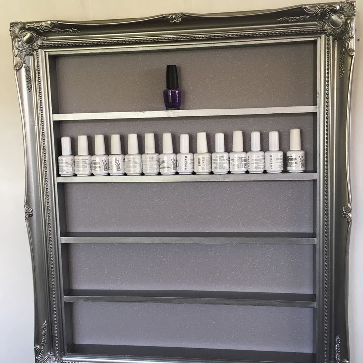 Pewter silver nail polish rack holds 70 gelish size bottles ❤️