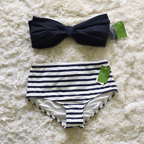 Kate Spade Bow Swimsuit Two piece high waisted bow swimsuit. Brand new with tags, hygiene strip, and strap intact. No trades please. kate spade Swim Bikinis