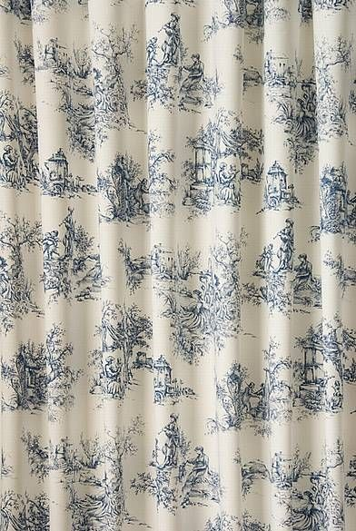 Two Panels Of Blue Toile Curtain Panels. Each Panel Has A Topper And 2 In.