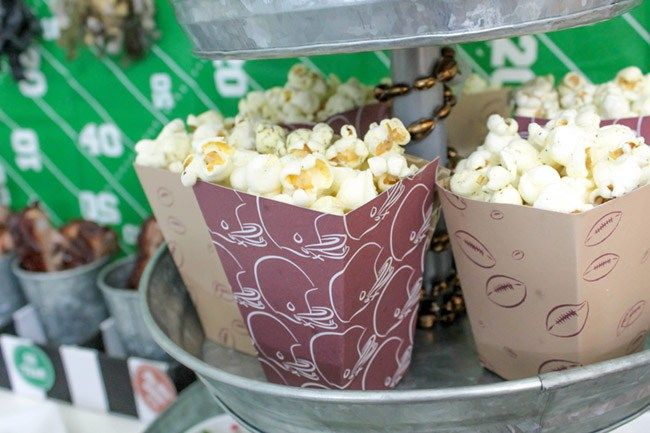 Football party popcorn-See more Football party details at B. Lovely Events