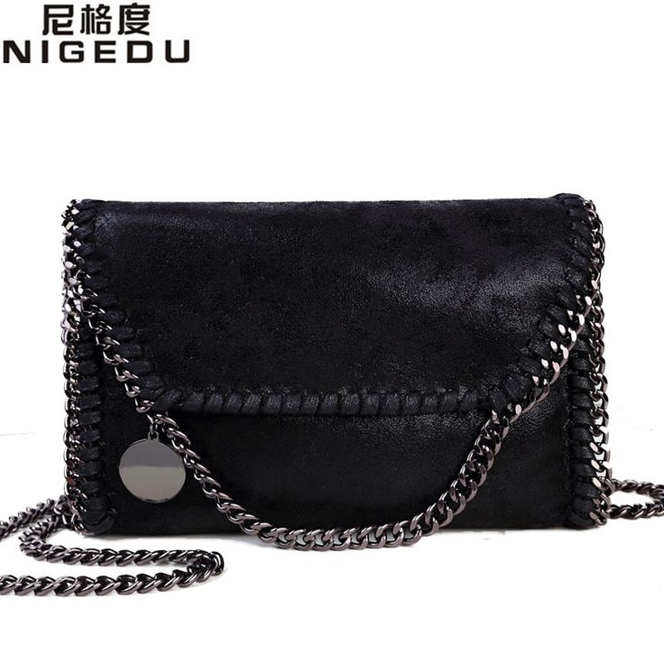 NIGEDU Fashion Womens Stella design Chain Detail Cross Body Bag Ladies Shoulder bag clutch bag bolsa franja luxury evening bags