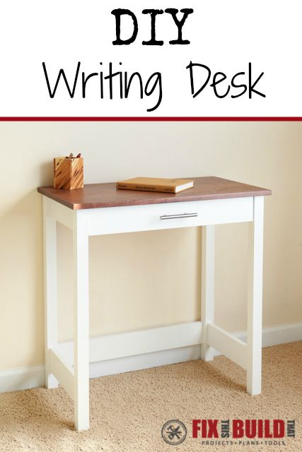 You can make this cute writing desk with just a few boards.  Make the perfect spot to sit down and write letters or use your laptop/tablet.  Free plans at FixThisBuildThat.com!