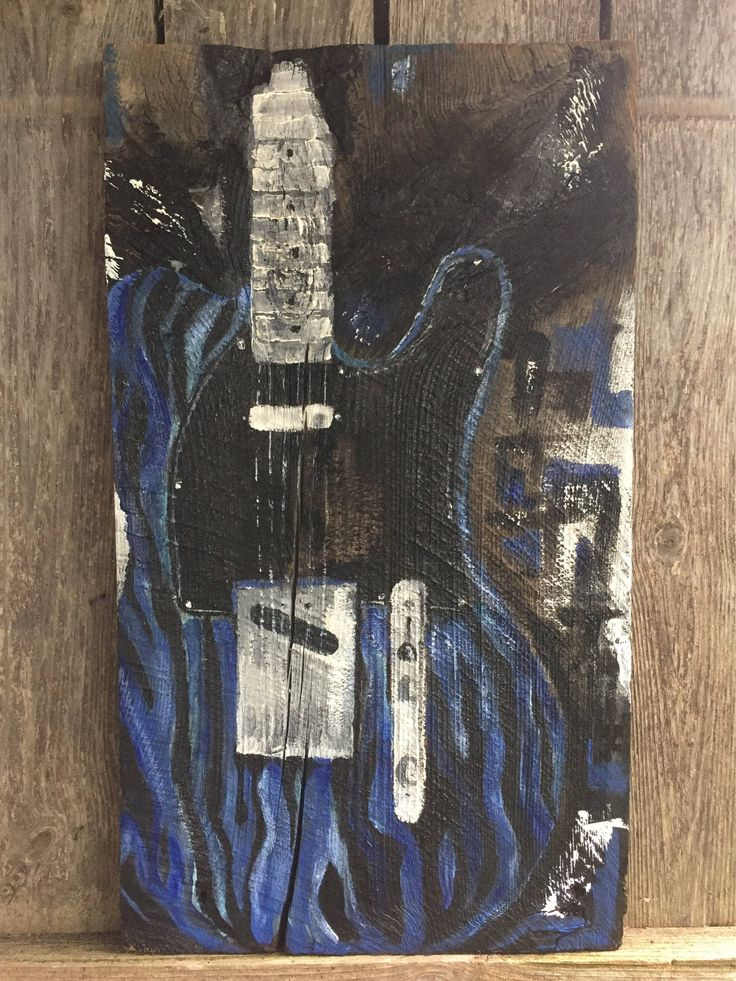 Blue Swirl Telecaster, Acrylic Painting on Reclaimed Barn Board by AshesToArtMyranda on Etsy