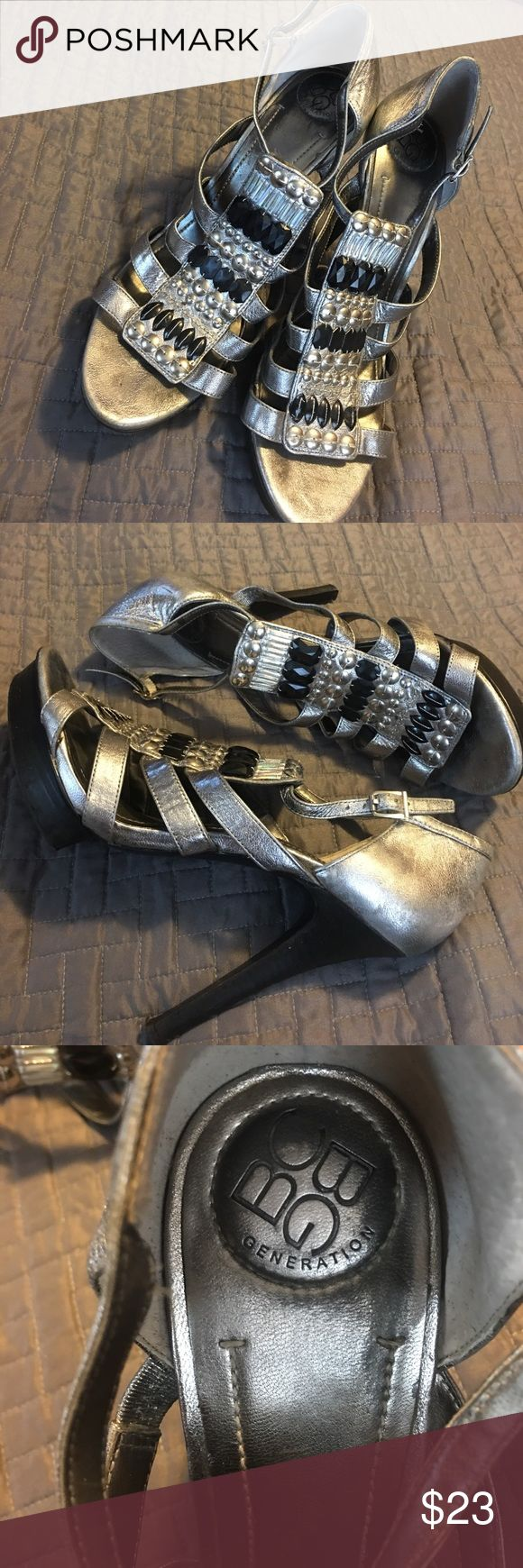 BCBG Generation Silver Strappy Heels Sandal Beaded BCBG Generation Silver High Heel Sandal with Beading. Size 9  leather uppers. 3 1/2 inch heel with 1 inch lift. In great shape. So very cute and stylish! BCBGeneration Shoes Heels