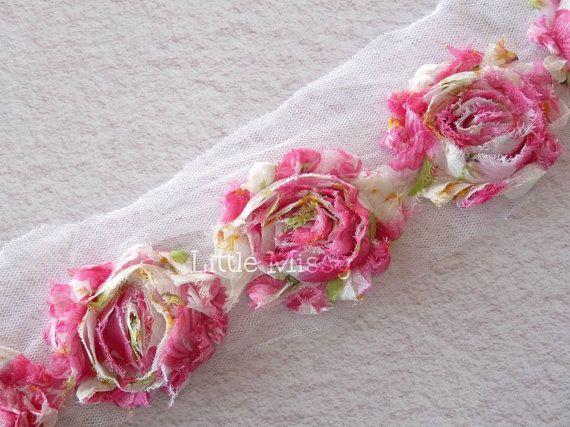 Pink Rose Flowers Shabby Chiffon Flowers by LittleMissySupplies