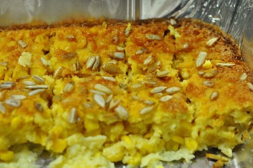 4 x Eggs 2 x Cans of Creamed Style Sweet Corn 60ml Cake Flour 60ml Melted Butter 60ml Sugar 15ml Baking Powder Sunflower Seeds  In a mixing bowl mix everything together with hand blender. | Grease a baking dish and stick the mix in there. | Top with a few sunflower seeds for decoration. | About 40 minutes at 180 degrees or untill golden brown.