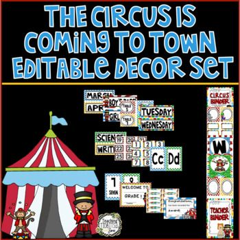 This product has everything you need to implement a circus theme in your classroom.  It includes all the circus theme classroom decor needed to get your classroom up and running just in time for back to school!