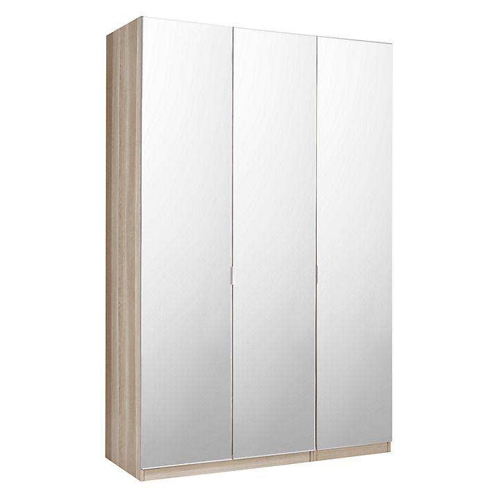Buy House by John Lewis Mix it Tall Mirrored Triple Wardrobe, Mirror/Grey Ash Online at johnlewis.com