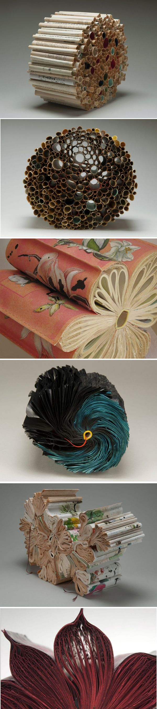 Jacqueline Rush Lee  http://www.jacquelinerushlee.com/images/BookSculpture.html