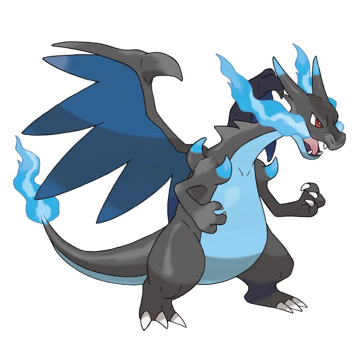 Mega Charizard X - 006 - When expelling a blast of superhot fire, the red flame at the tip of its tail burns more intensely. Its wings can carry this pokemon close to an altitude of 4,600 feet. It blows out fire at very high temperatures.  @PokeMasters.net