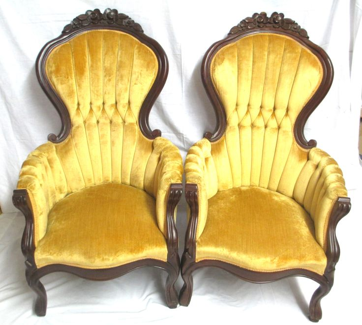 Pair Of Vintage Kimball Victorian Rose Carved Highback